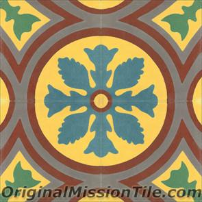 Original Mission Tile Cement Classic McNay Flower - 8 x 8