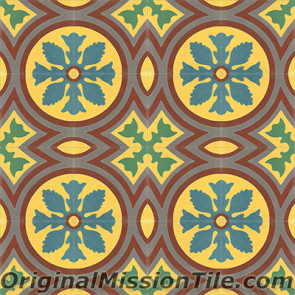 Original Mission Tile Cement Classic McNay Flower - 8 x 8