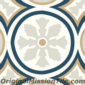 Original Mission Tile Cement Classic McNay Flower 07 - 8 x 8