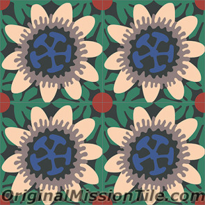 Original Mission Tile Cement Santa Barbara Passion Flower - 8 x 8