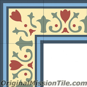 Original Mission Tile Cement Border Roche - 8 x 8