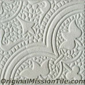 Original Mission Tile Cement Relief Roseton - 8 x 8