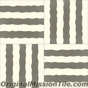 Original Mission Tile Cement Santa Barbara Stripes - 8 x 8