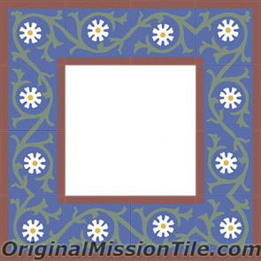 Original Mission Tile Cement Border Victoria - 8 x 8