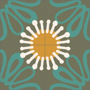 Original Mission Tile Cement Laura Gottwald Marguerite - 8 x 8