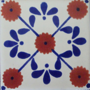 Margarita Blue/Brown Decorative Talavera Blanco