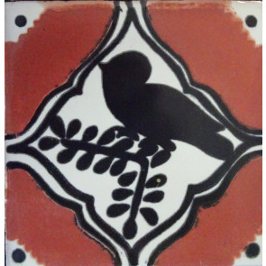 Pajaro Col. Brown/Black Decorative Talavera Blanco